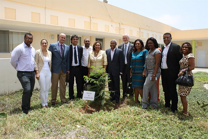A tree was planted in front of Sal Rei Hospital to mark inauguration of National Telemedicine Program in Cape Verde