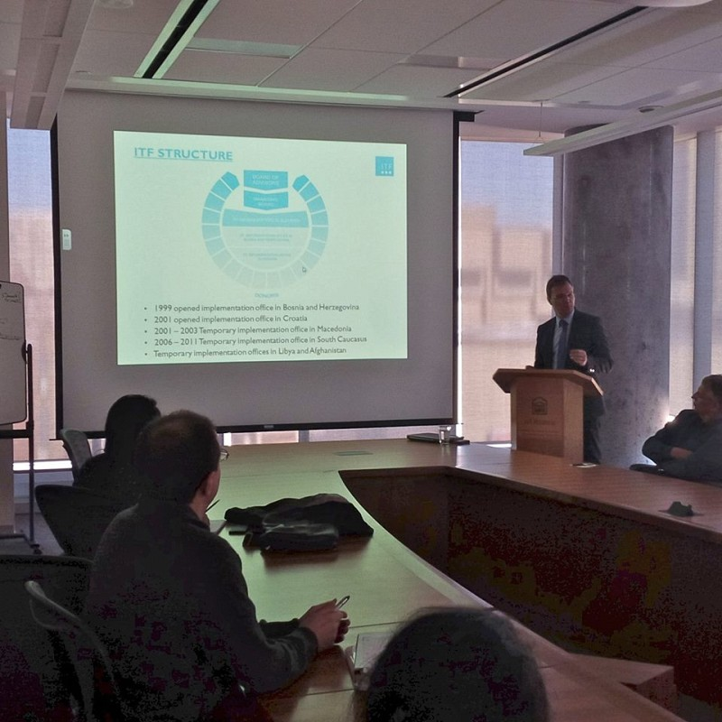 Giving lectures on ITF activities at the University of Ottawa, Faculty of Social Sciences