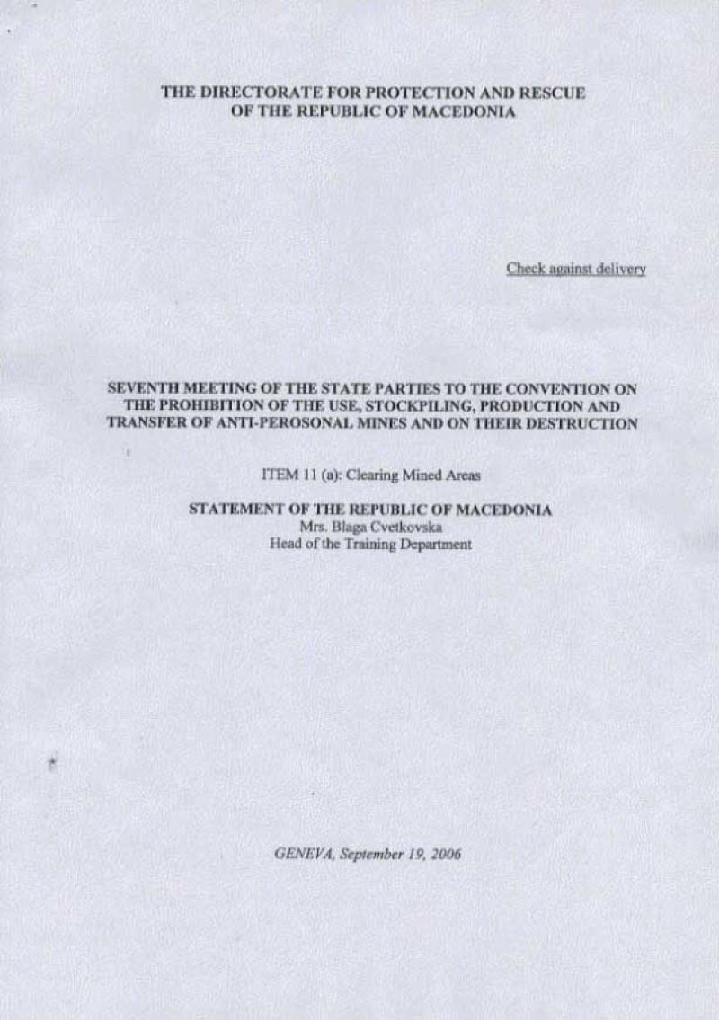 Macedonia achieved mine free status