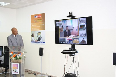 Mr Mitja Hegler, ITF Project Manager virtually delivering speech from Slovenia