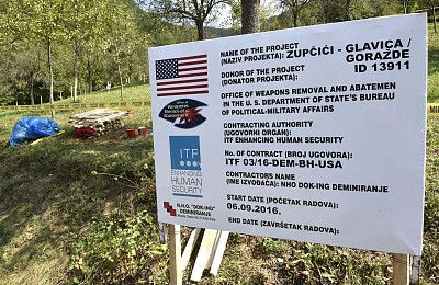 Demining worksite in Goražde, activities supported by the US through ITF