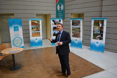 Ambassador Leon Marc at the opening of the ITF exhibition at the Faculty of Social Sciences, Masaryk University