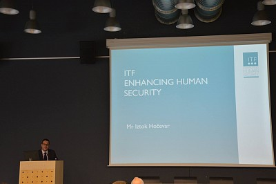 Iztok Hočevar, ITF Project Manager, delivering his keynote speech [Photo courtesy of MUNSC Salient]