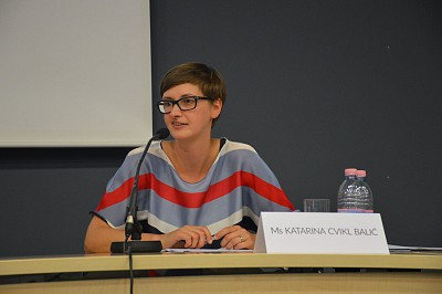 Katarina Cvikl Balić, ITF Project Manager, during panel discussion on Human Capital in Post-Conflict Development