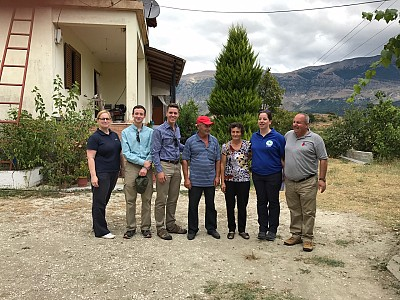 Ms Sabina Beber Bostjancic, ITF Deputy Director,  Mr Michael Tirre and Mr Ethan Rinks of the PM/WRA at U.S. Department of State, Ms Eva Veble, NPA Albania Director and Mr Arben Braha, AMMCO Director with local residents