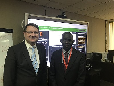 ITF director Amb Lovrenčič with Mr Kebba Touray, EWD Head of Systems at ECOWAS.