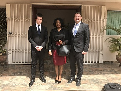 Mr Sylvain Naulin, Political officer at Embassy of France in Nigeria, Chinwe Williams Chukwu, ITF/SAG DPM and Amb Lovrenčič, ITF director.