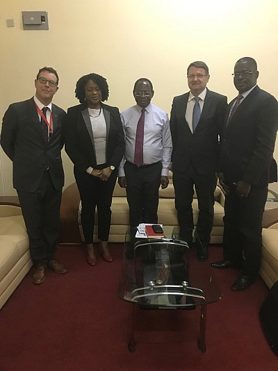 Meeting with H.E. Dr Kofi K. Apraku, ECOWAS Commissioner Macroeconomic Policy & Economic Research Development, and Dr Felix Fofana N'zue, Program Director Economic Policy Analysis Unit, for project Macroeconomic Fiscal Modelling.